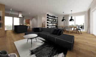 Projektowanie wnętrz apartamentów. Salon apartamentu, Sopot Mokwy.